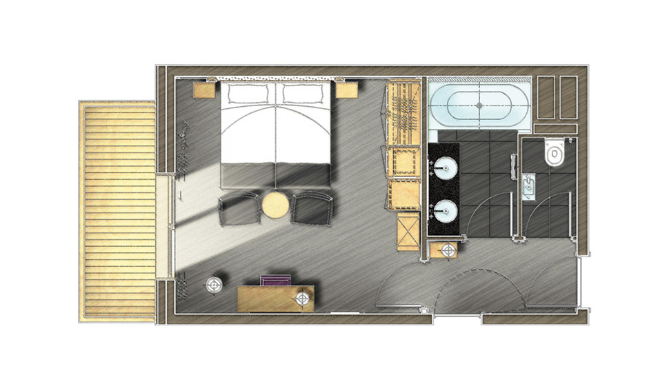 Chambres et suites m ribel h tel le ka la 5 toiles - Plan de chambre avec dressing et salle de bain ...