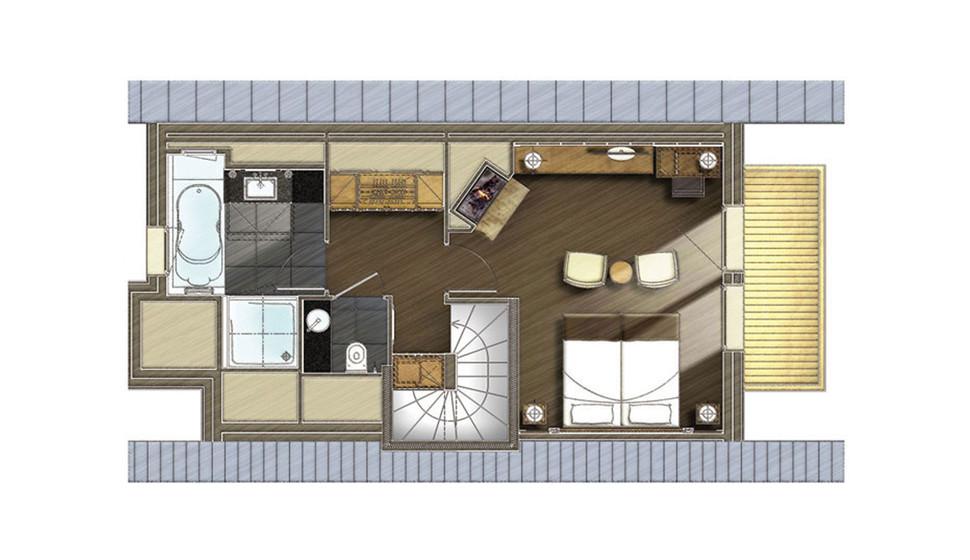 Chambre Personnes Méribel Le Kaïla Junior Suite Alpine - Chambre avec dressing et salle de bain plan