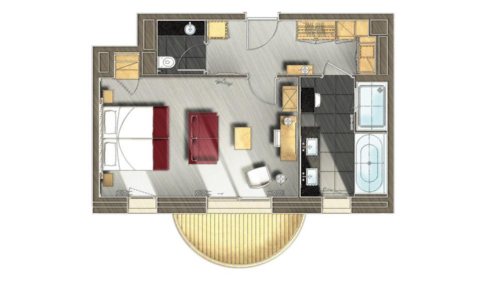 Chambres Et Suites à Méribel Hôtel Le Kaïla étoiles - Chambre avec dressing et salle de bain plan
