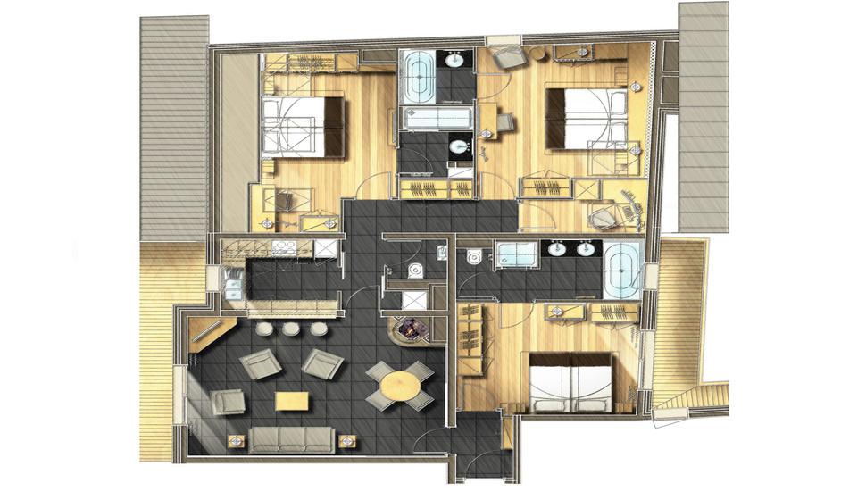 Chambres et suites m ribel h tel le ka la 5 toiles Plan chambre dressing salle de bain